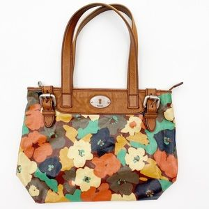 FOSSIL Key Per Canvas Coated Tote Floral Large